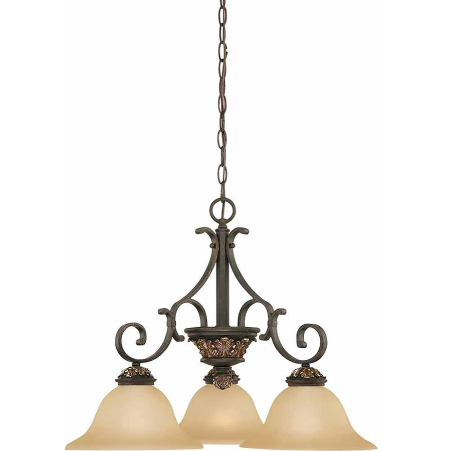 Geissler 24-in 3-Light Vintage Bronze and Antique Gold Tinted Glass Candle Chandelier