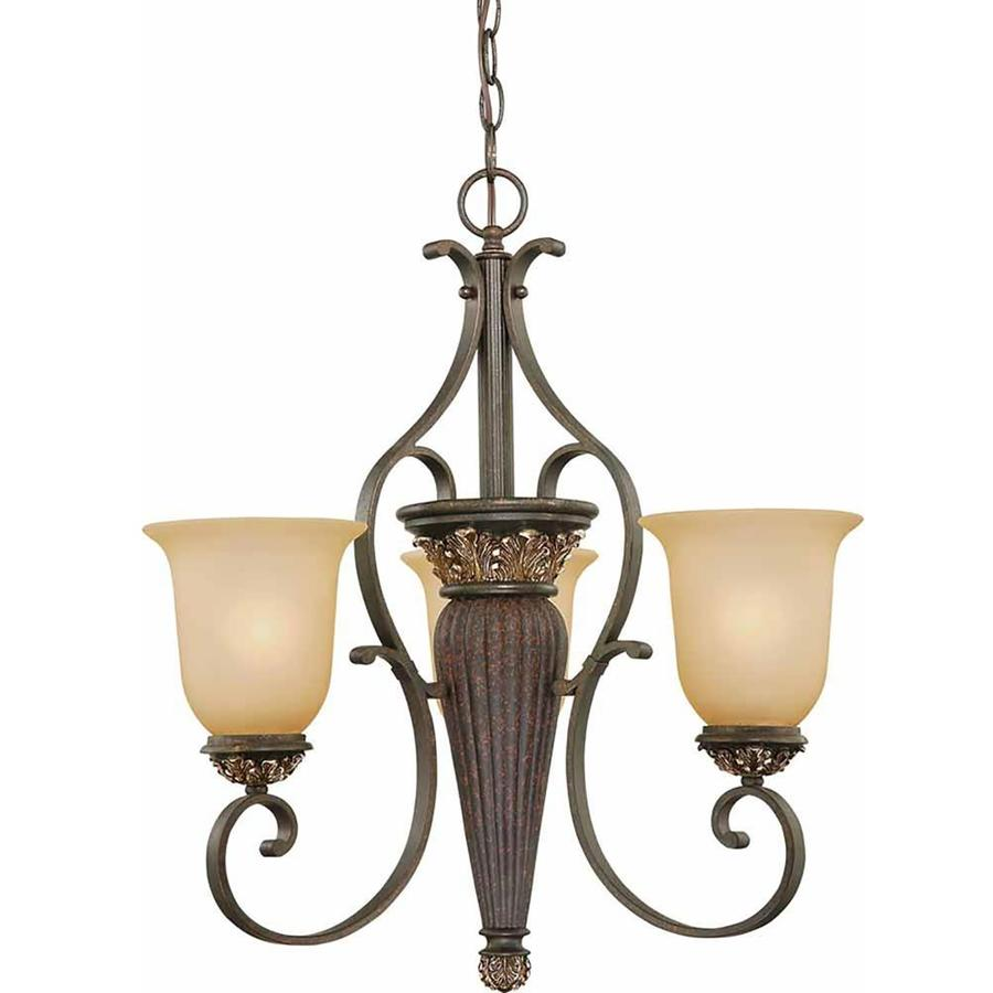 Geissler 21-in 3-Light Vintage Bronze and Antique Gold Tinted Glass Candle Chandelier