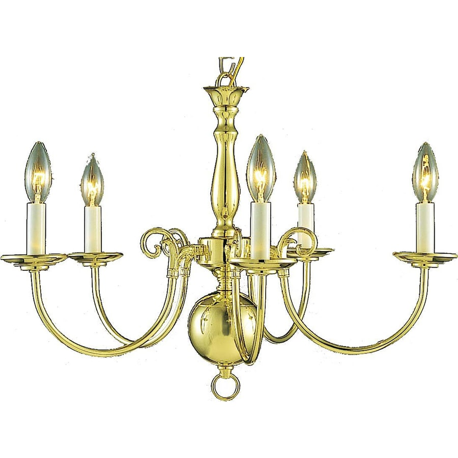 Raiford 23.5-in 5-Light Polished Brass Candle Chandelier