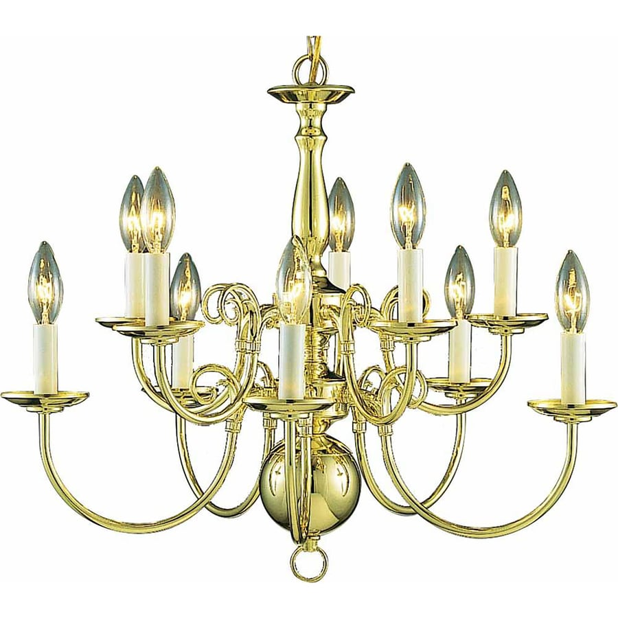 Raiford 23.5-in 10-Light Polished Brass Candle Chandelier