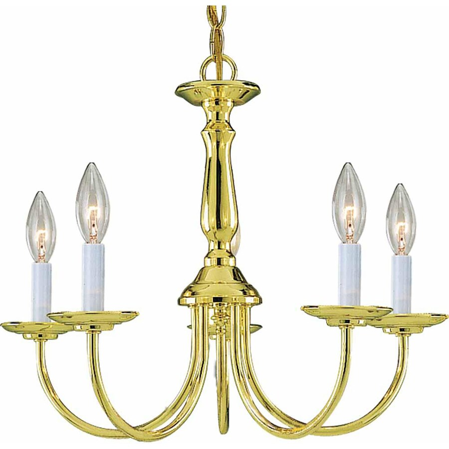 Sula 18-in 5-Light Polished Brass Candle Chandelier