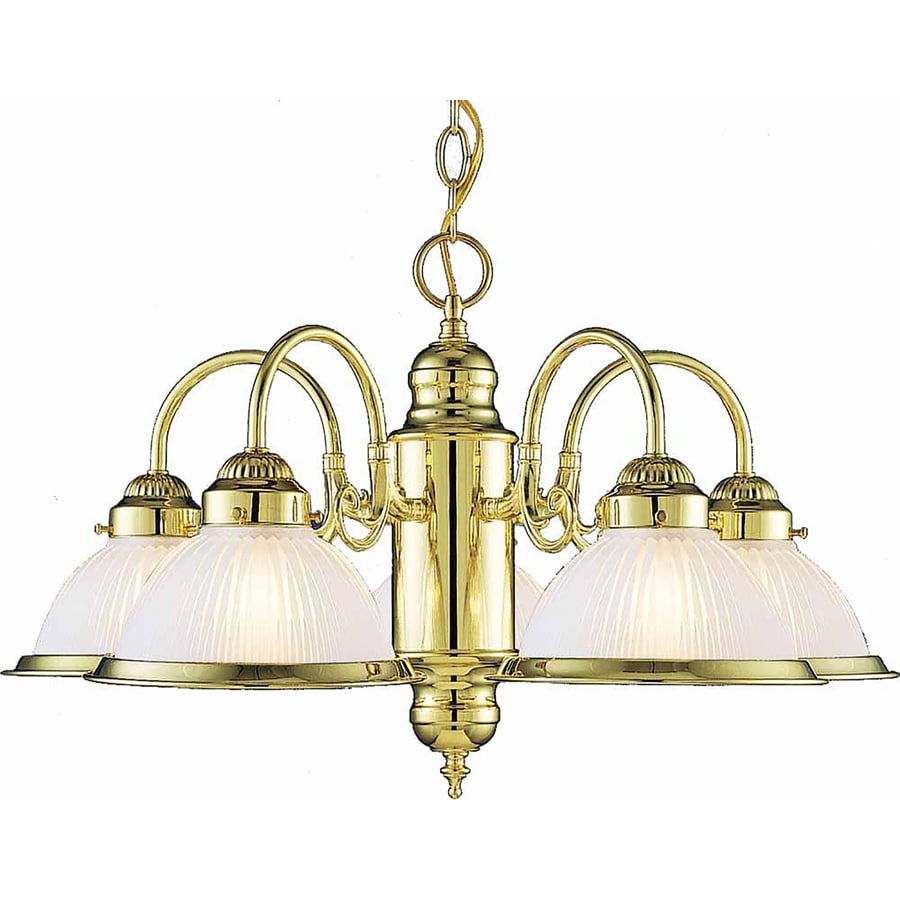 Madelyn 23-in 5-Light Polished Brass Tinted Glass Candle Chandelier