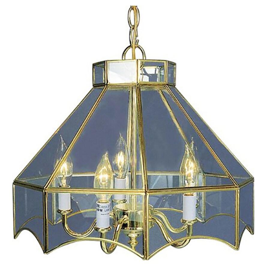 Kadoka 16-in 5-Light Polished Brass Clear Glass Candle Chandelier