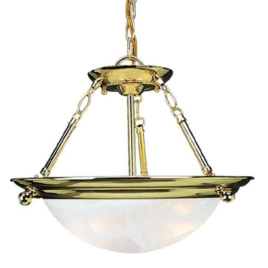 Karcich 15.5-in W Polished Brass Alabaster Glass Semi-Flush Mount Light