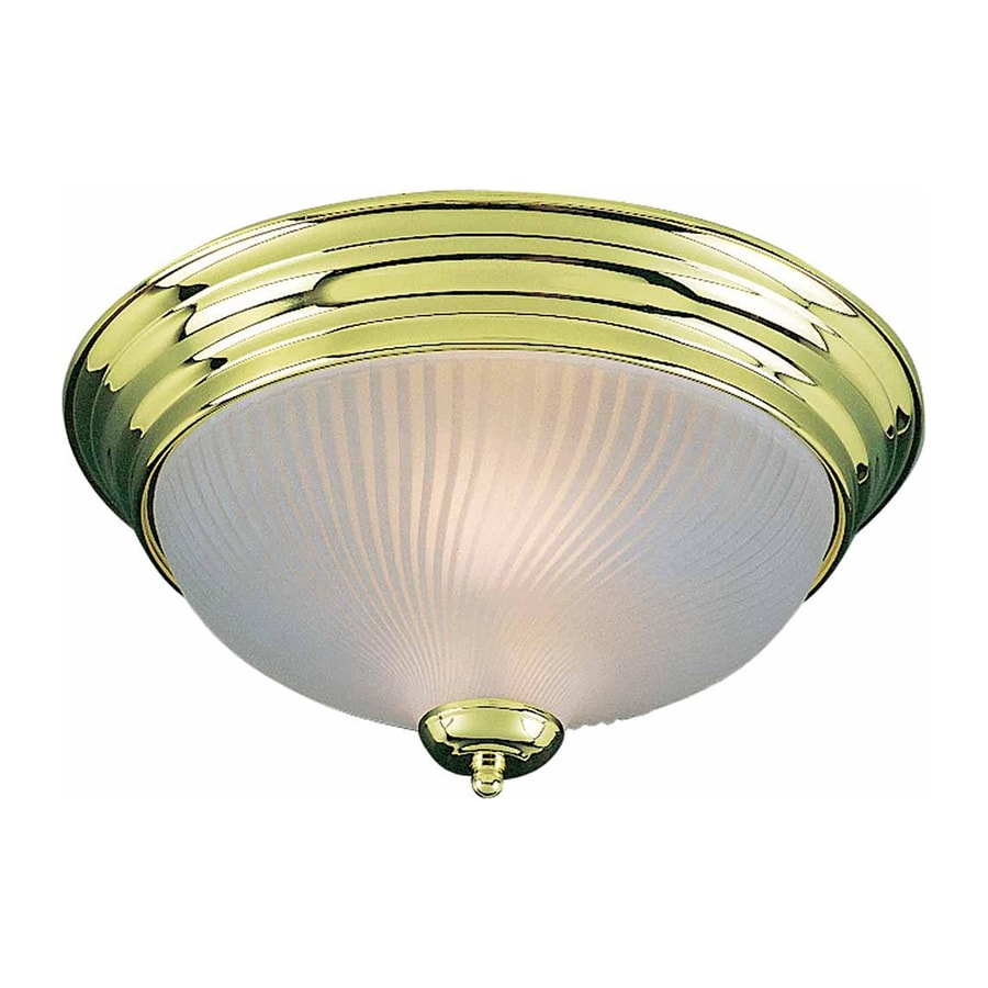 shop bowden 15 in w polished brass ceiling flush mount light at lowes