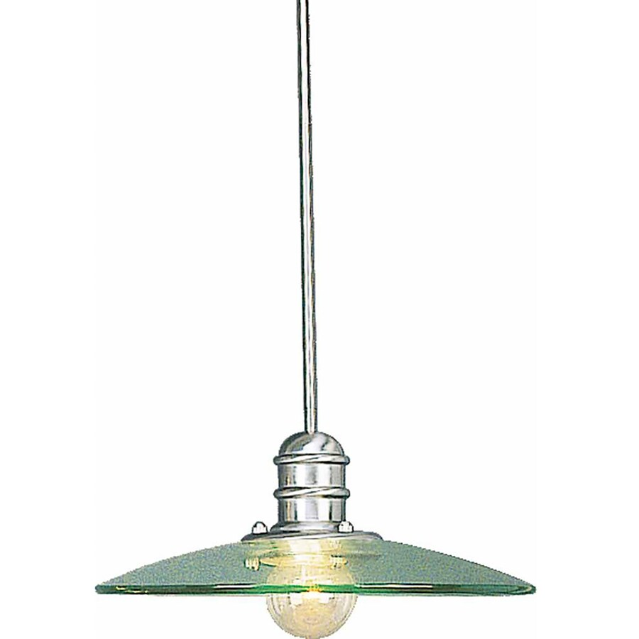 Morin 18-in Brushed Nickel Single Clear Glass Pendant