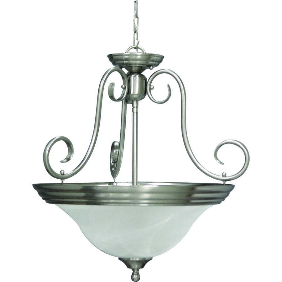 Oklee 20.5-in W Brushed Nickel Alabaster Glass Semi-Flush Mount Light
