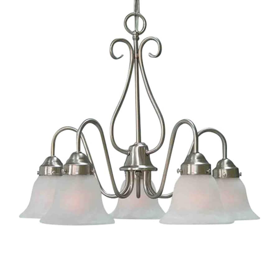 Meriden 23.5-in 5-Light Brushed Nickel Alabaster Glass Candle Chandelier