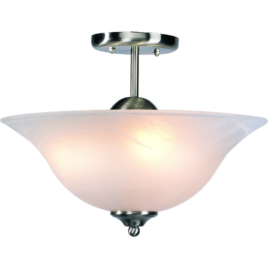 Wolin 12-in W Brushed Nickel Alabaster Glass Semi-Flush Mount Light