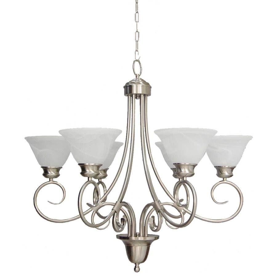 Lanett 32.25-in 6-Light Brushed Nickel Alabaster Glass Candle Chandelier