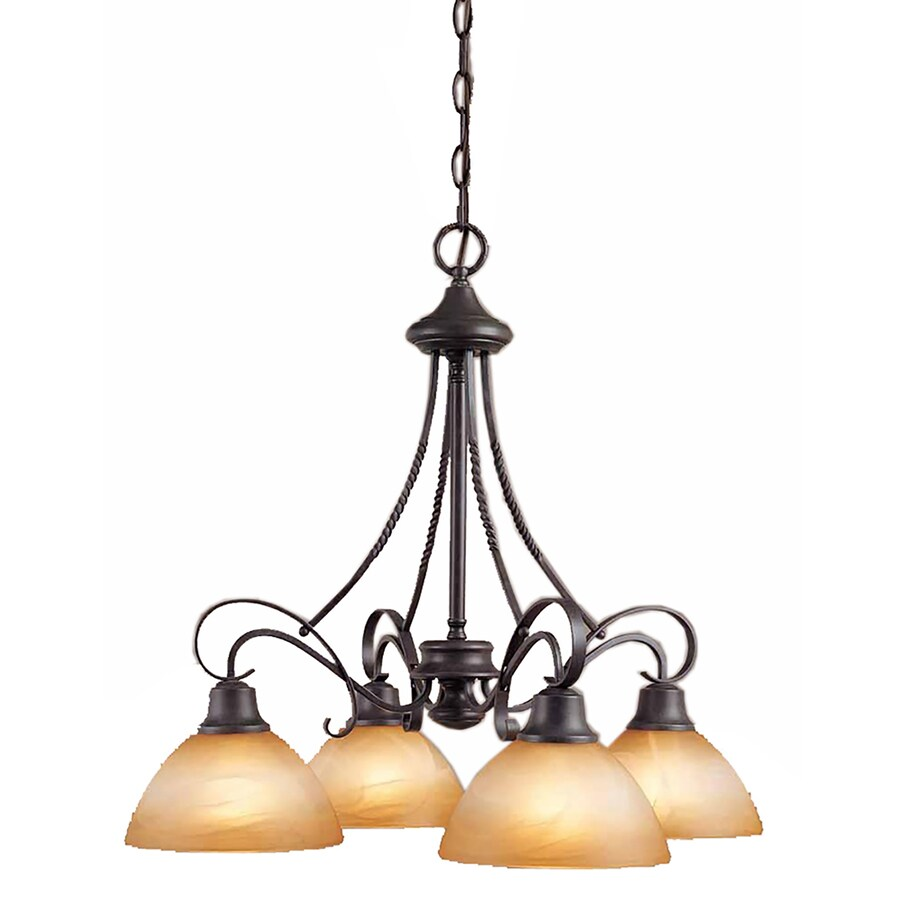 Dracut 24-in 4-Light Frontier Iron Alabaster Glass Candle Chandelier