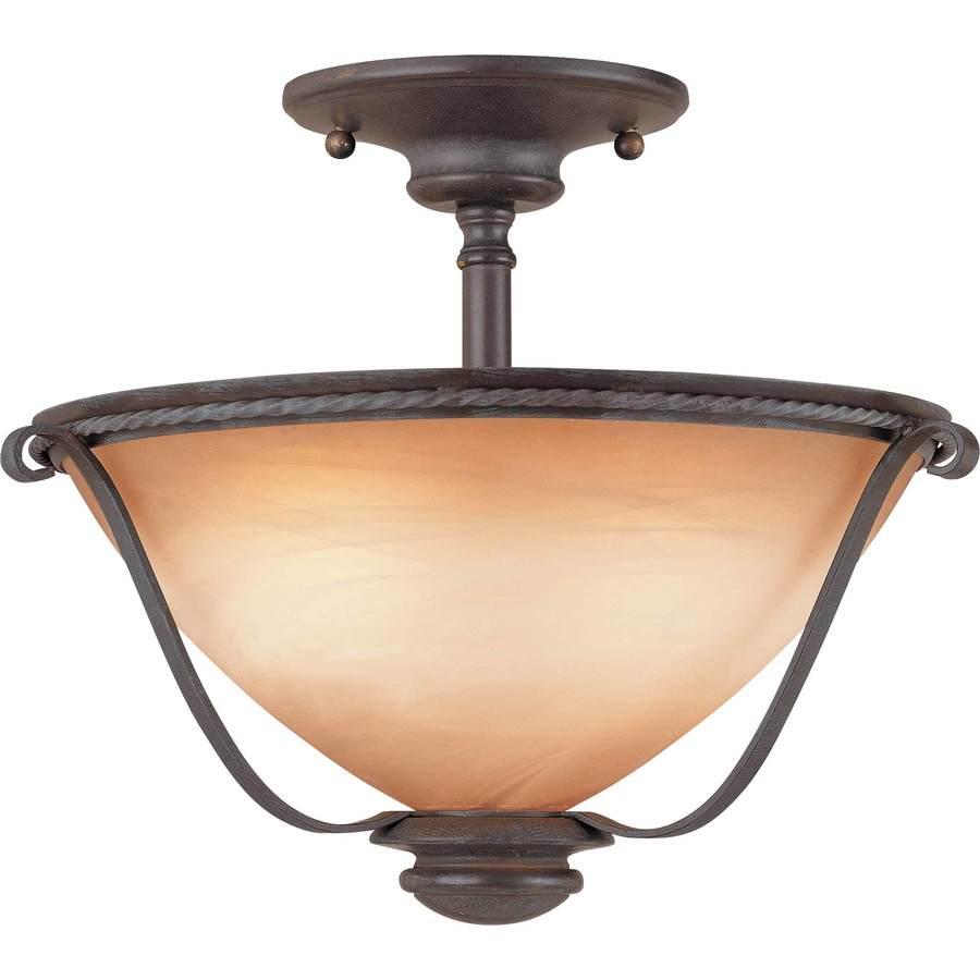 Dracut 12.75-in W Frontier Iron Alabaster Glass Semi-Flush Mount Light