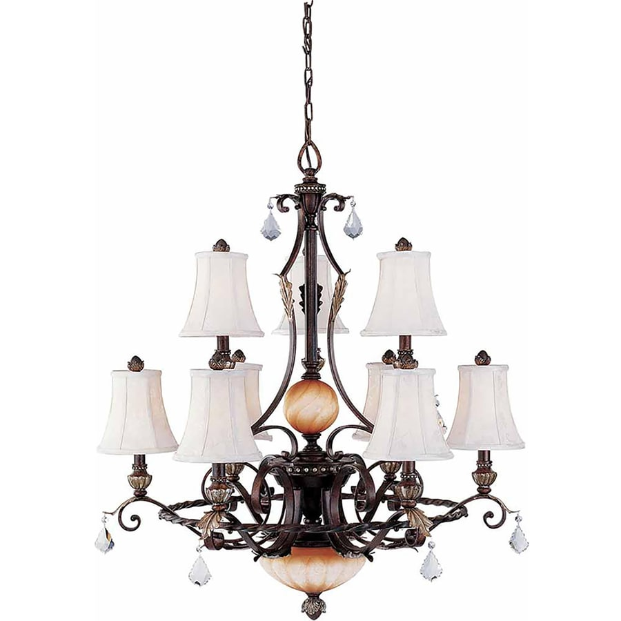 Kenedy 34.5-in 9-Light Vintage Bronze and Antique Gold Tinted Glass Tiered Chandelier