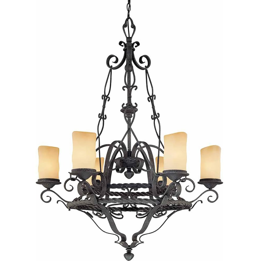 Tabor 33-in 6-Light Antique Iron Tinted Glass Candle Chandelier