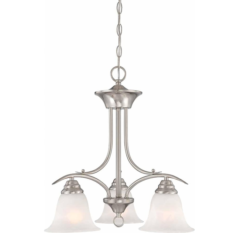 Chama 19-in 3-Light Brushed Nickel Alabaster Glass Candle Chandelier