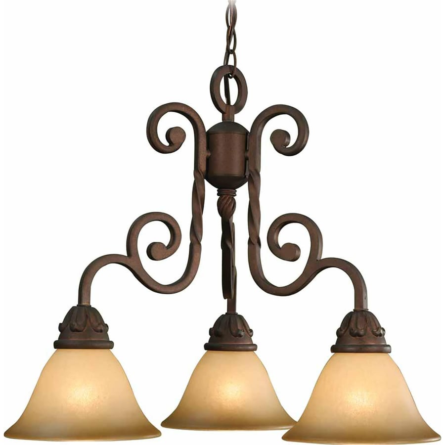 Wyocena 23-in 3-Light Italian Dusk Tinted Glass Candle Chandelier