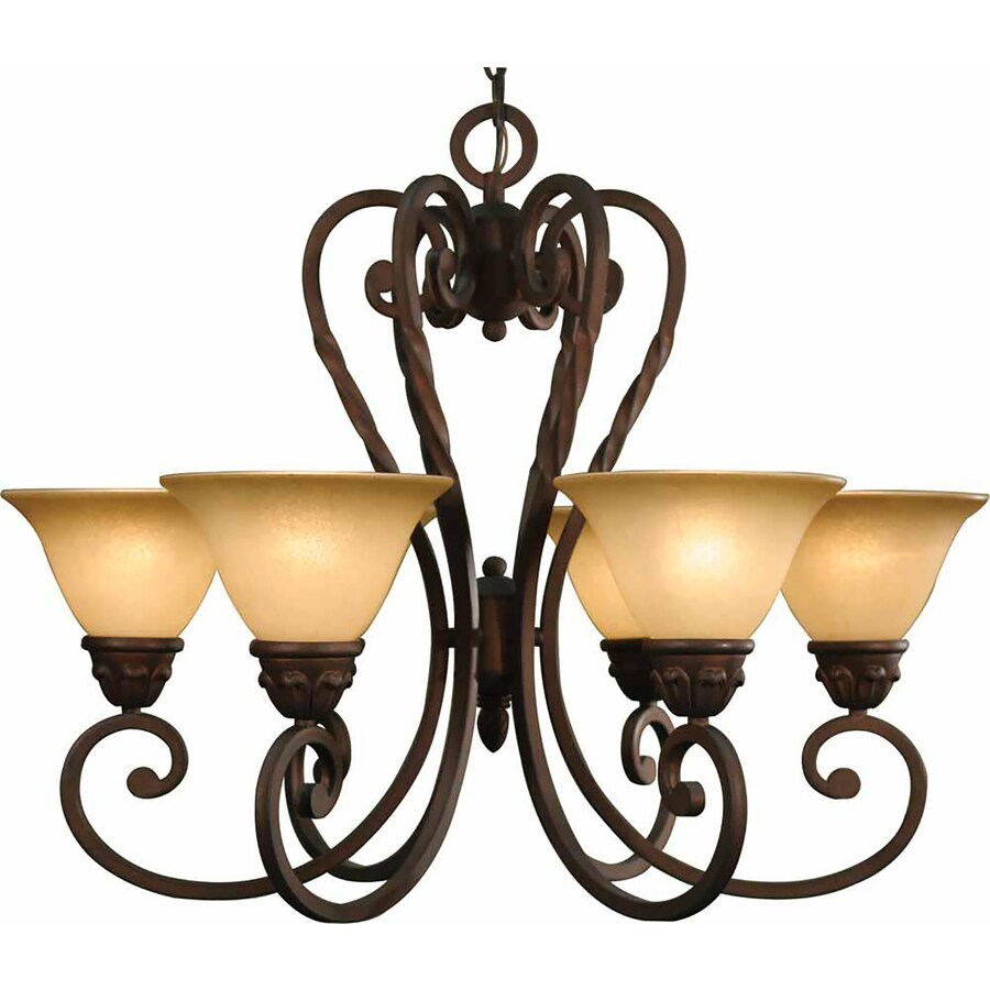 Wyocena 28.5-in 6-Light Italian Dusk Tinted Glass Candle Chandelier