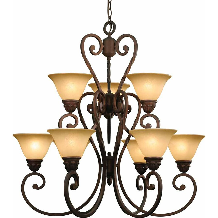 Wyocena 33-in 9-Light Italian Dusk Tinted Glass Candle Chandelier