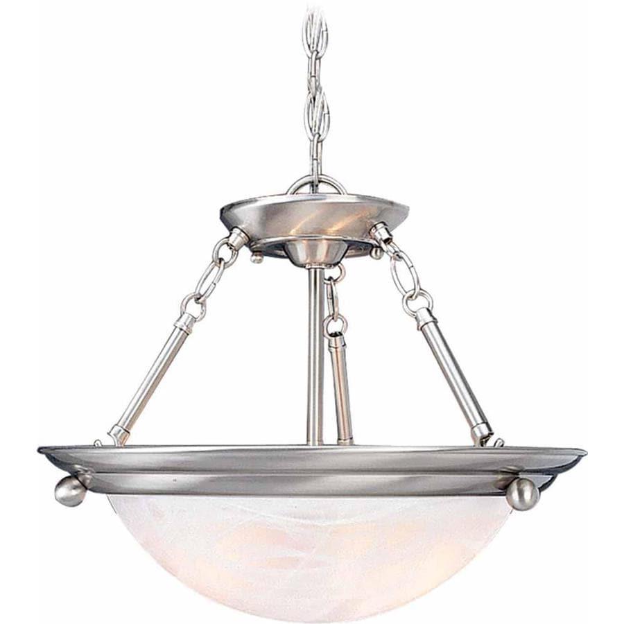 Karcich 21.5-in W Brushed Nickel Alabaster Glass Semi-Flush Mount Light