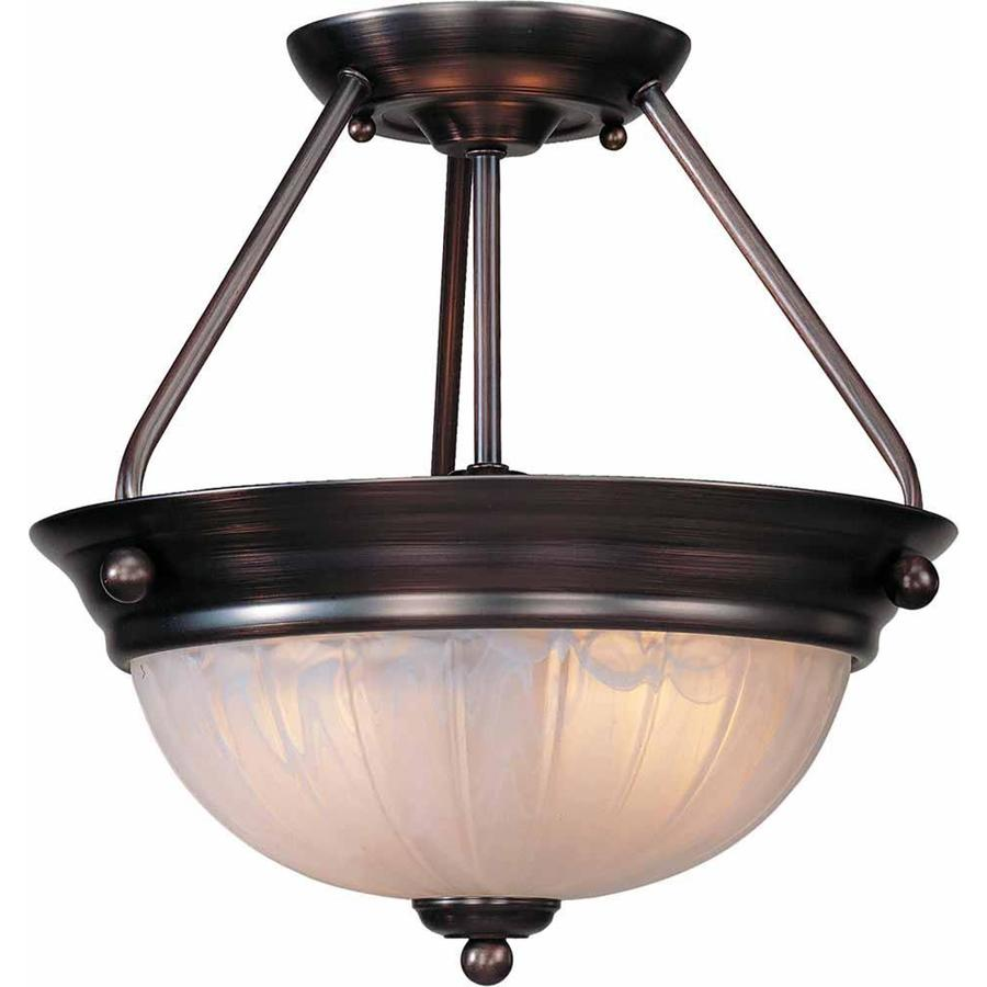 Alpena 13-in W Antique Bronze Alabaster Glass Semi-Flush Mount Light