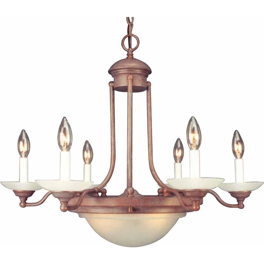 Aylett 28-in 6-Light Prairie Rock Candle Chandelier