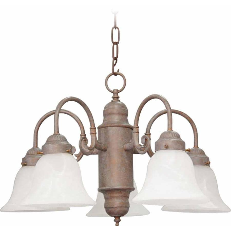 Nelse 23-in 5-Light Prairie Rock Alabaster Glass Candle Chandelier