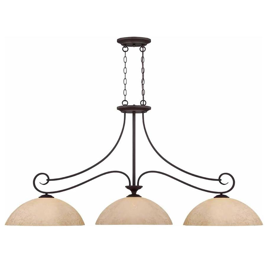 Taloga 18-in W 3-Light Antique Bronze Kitchen Island Light with Tinted Shade