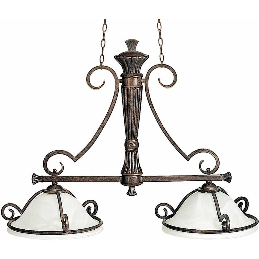 Avalon 7-in W 2-Light Imperial Bronze Kitchen Island Light with White Shade