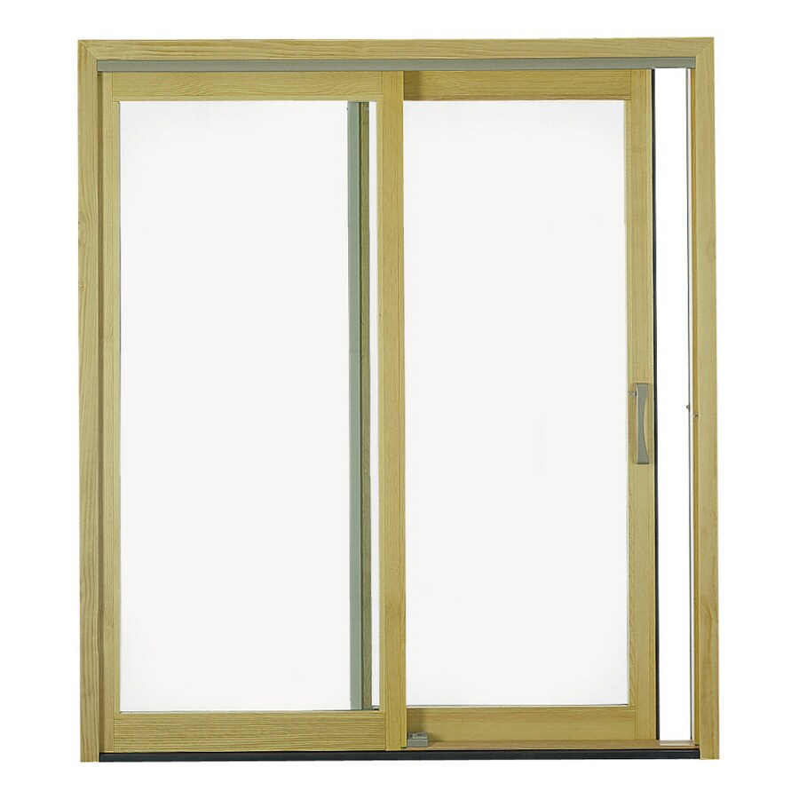 Pella® 6' 450 Series Sliding Patio Door Wood Clad Clear Low E White Sliding No Brick Mold Left Hand (Screen Not Included)