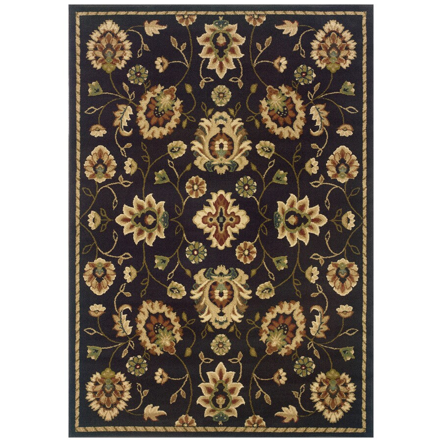 Sedia Home Audrey Rectangular Brown Floral Area Rug (Common: 5-ft x 8-ft; Actual: 5-ft x 7-ft 6-in)