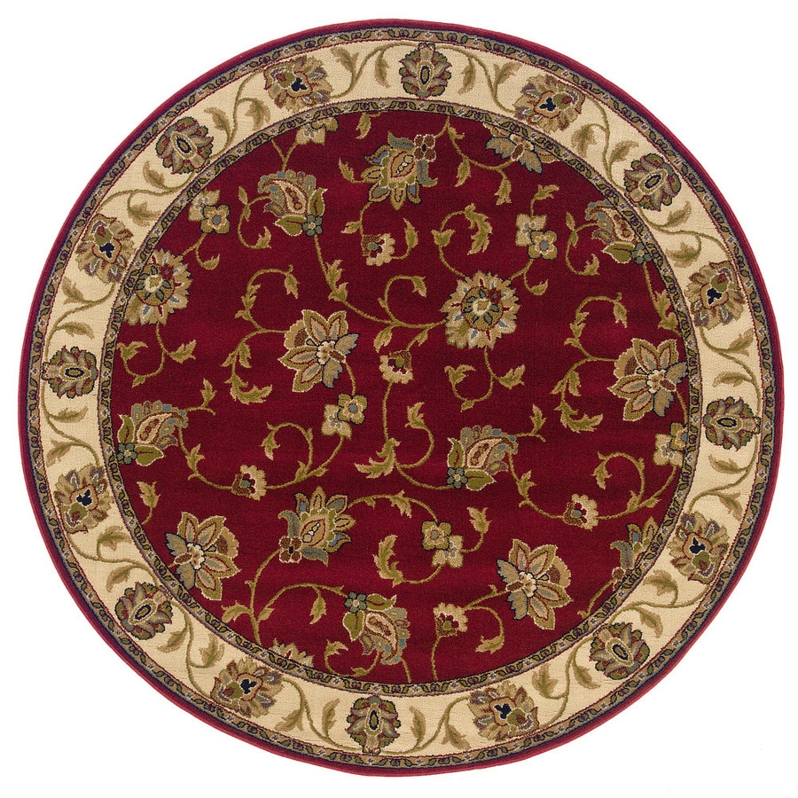 Oriental Weavers of America Addison Round Red Floral Woven Area Rug (Common: 8-ft x 8-ft; Actual: 7.66-ft x 7.66-ft)
