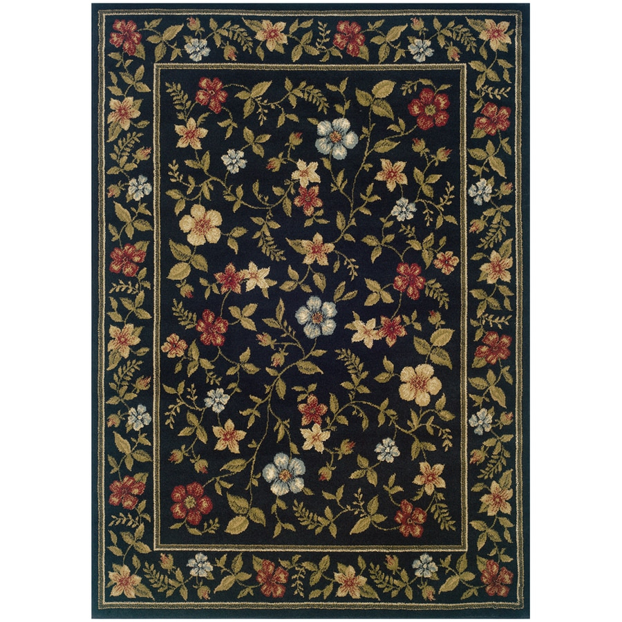 Sedia Home Kaylee Rectangular Black Floral Woven Area Rug (Common: 8-ft x 10-ft; Actual: 3.166-ft x 5.416-ft)