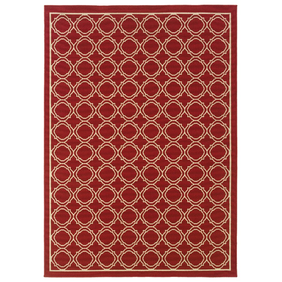 Oriental Weavers of America Jaxson Rectangular Red Transitional Indoor/Outdoor Woven Area Rug (Common: 5-ft x 8-ft; Actual: 5.25-ft x 7.41-ft)