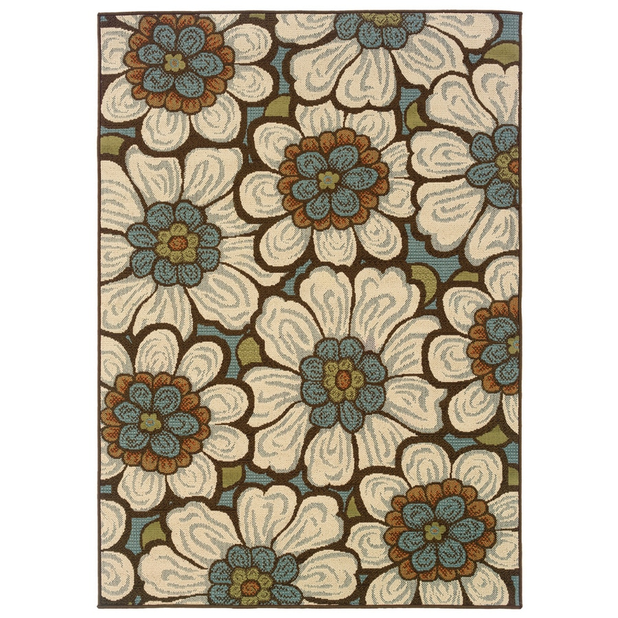 Oriental Weavers of America Layla Rectangular Multicolor Floral Indoor/Outdoor Woven Area Rug (Common: 5-ft x 8-ft; Actual: 5.25-ft x 7.41-ft)