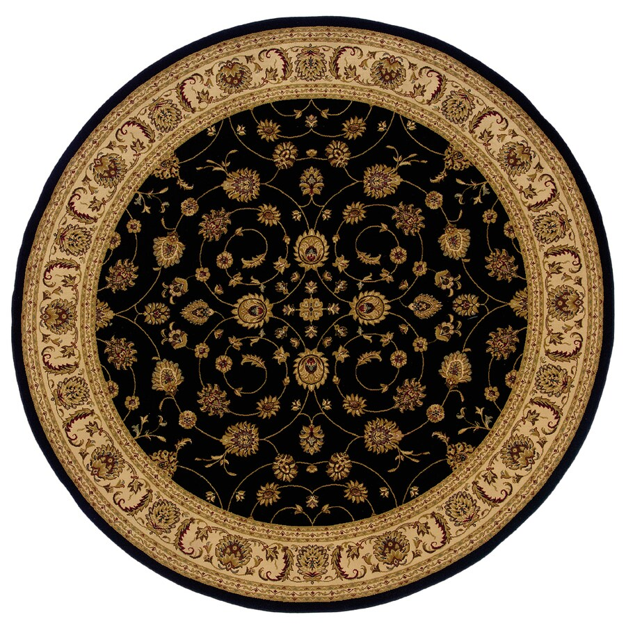 allen + roth Kennett 7-ft 8-in x 7-ft 8-in Round Black Floral Area Rug