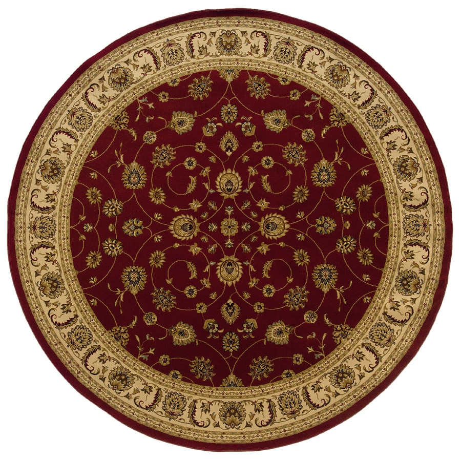 allen + roth Kennett 7-ft 8-in x 7-ft 8-in Round Red Floral Area Rug