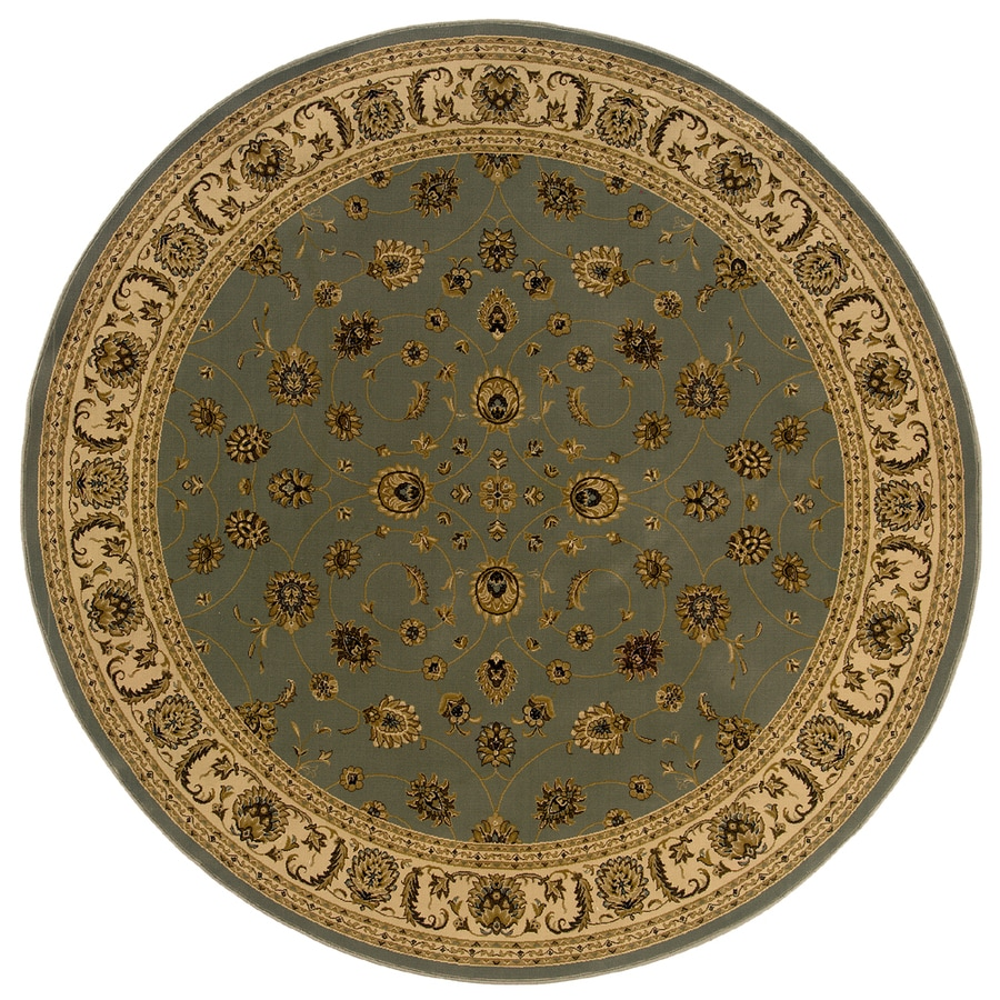 allen + roth Kennett 7-ft 8-in x 7-ft 8-in Round Blue Floral Area Rug