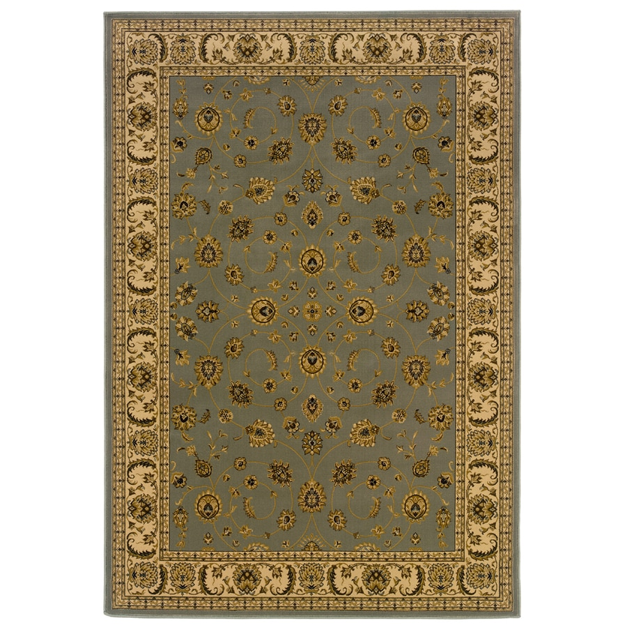 allen + roth Kennett 9-ft 10-in x 12-ft 9-in Rectangular Blue Border Area Rug