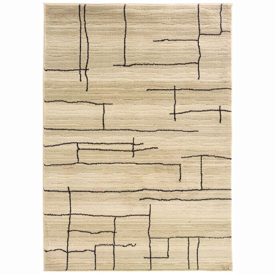 allen + roth Lamport Ivory Rectangular Indoor Woven Area Rug (Common: 5 x 8; Actual: 63-in W x 90-in L)