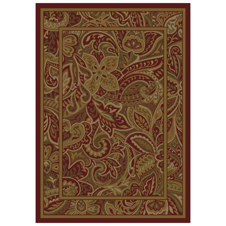 allen + roth Paisley Park Red Rectangular Indoor Woven Nature Area Rug (Common: 8 x 11; Actual: 94-in W x 130-in L)