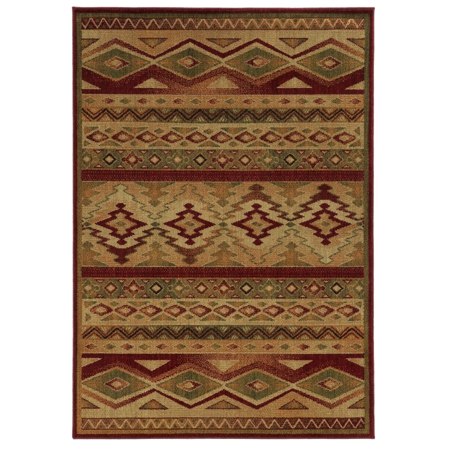 Style Selections Cleston Red Rectangular Indoor Woven Southwestern Area Rug (Common: 8 x 11; Actual: 92-in W x 130-in L)