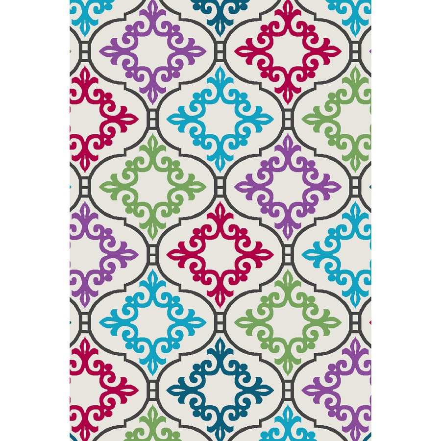 Oriental Weavers of America Florence White and Multicolor Rectangular Indoor Tufted Area Rug (Common: 4 x 6; Actual: 52-in W x 76-in L)