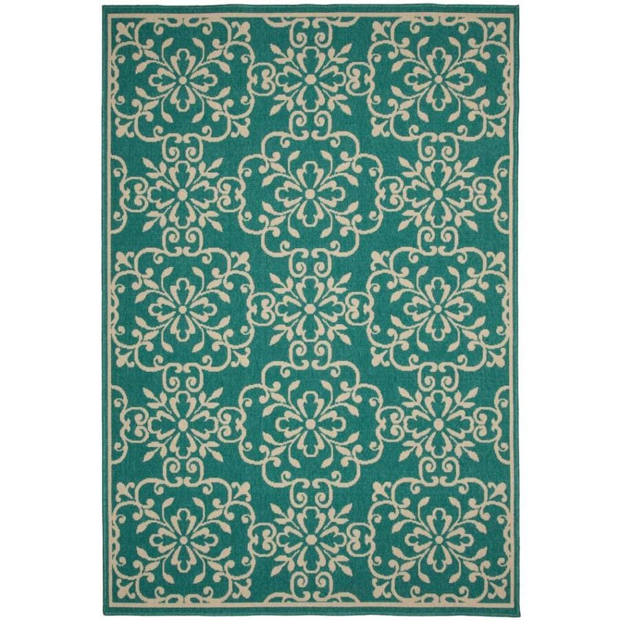 Garden Treasures Blakeslee 10 X 13 Teal Indoor Outdoor Geometric Area Rug In The Rugs Department At Lowes Com