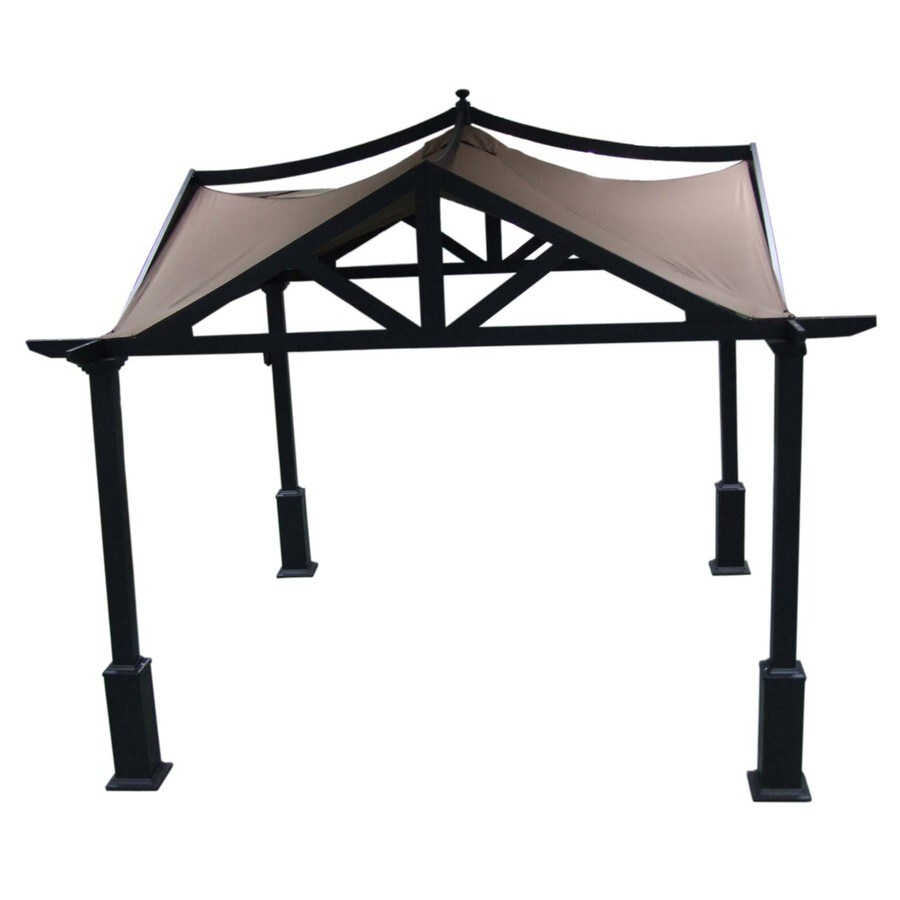 allen + roth 10-ft x 10-ft x 120-in x 6-ft 9-in Brown Steel Gazebo