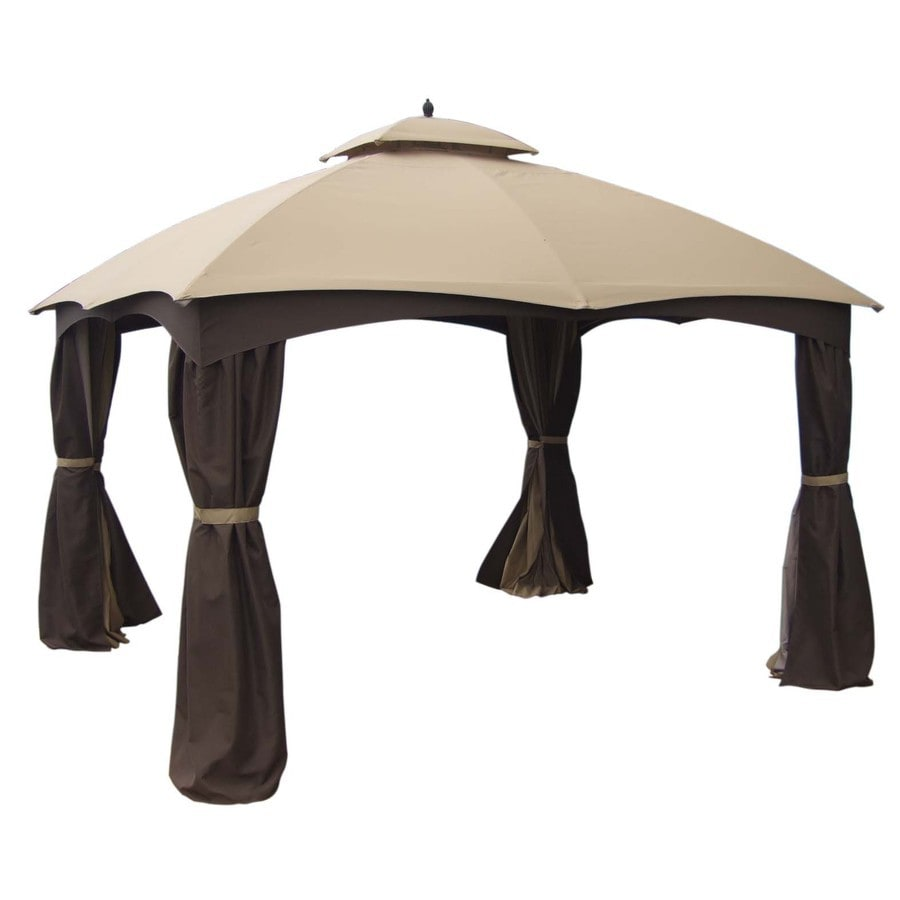 Shop Allen Roth Brown Rectangle Screened Gazebo Foundation 10 Ft X 12 Ft At Lowes Com