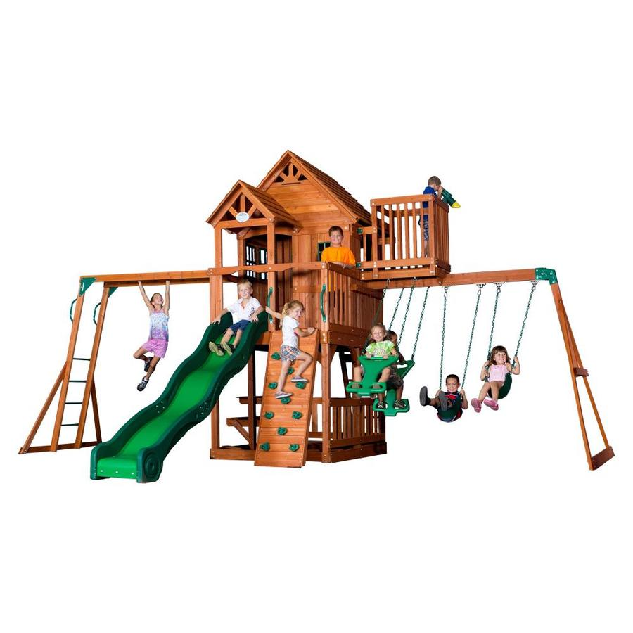 shop backyard discovery residential wood playset with swings at lowes