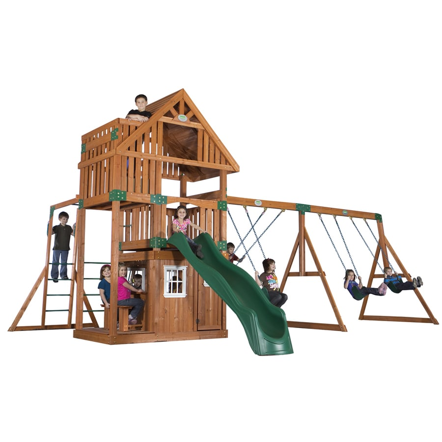 backyard discovery wanderer all cedar wood playset with swings