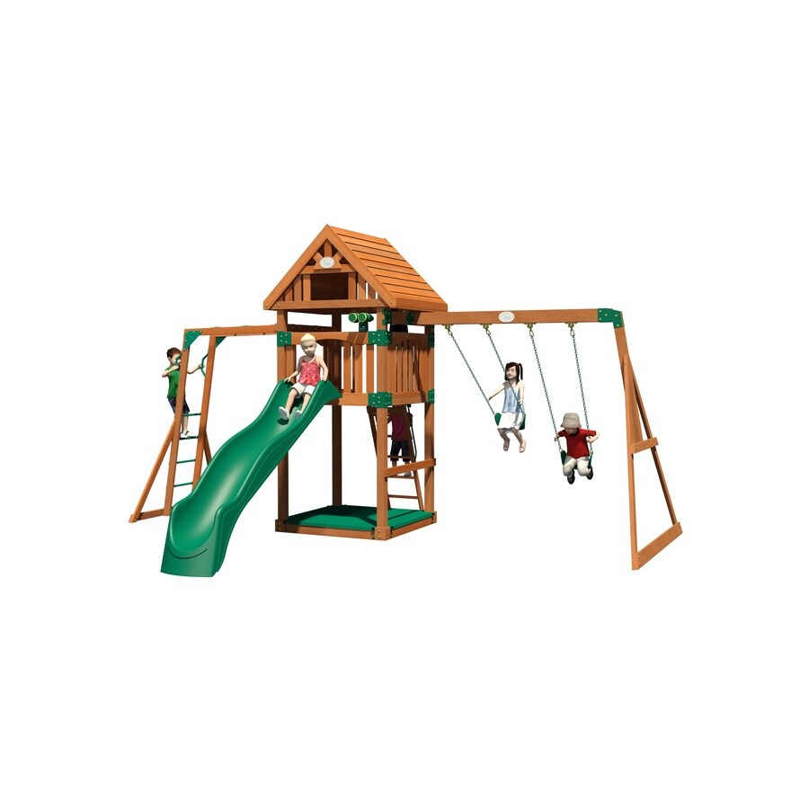Backyard Discovery Capitol Peak All Cedar Wood Playset with Swings