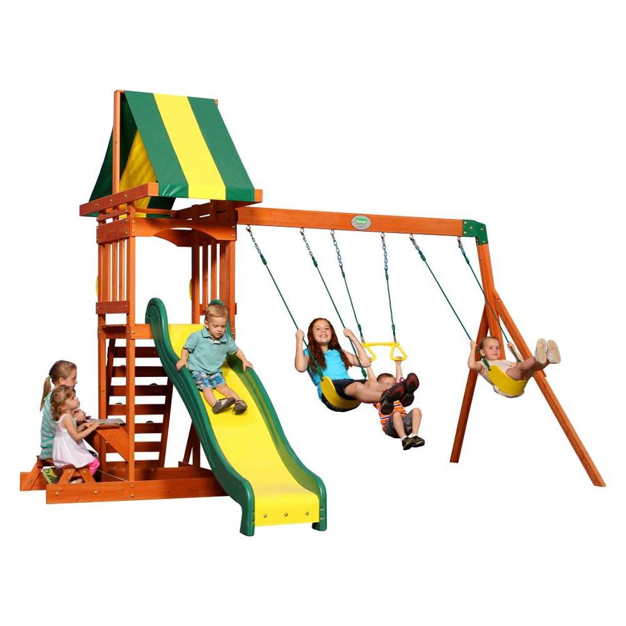 shop backyard discovery prestige all cedar wood playset with swings at