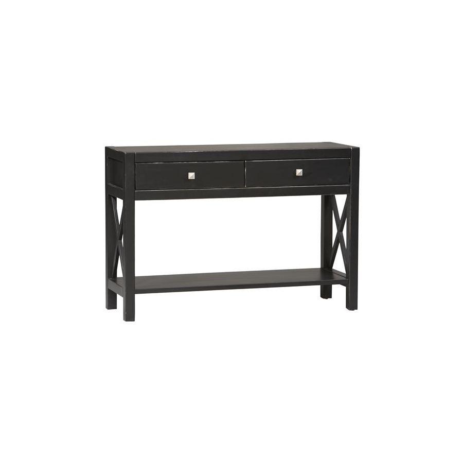 Linon Anna Black Asian Hardwood Rectangular Console and Sofa Table